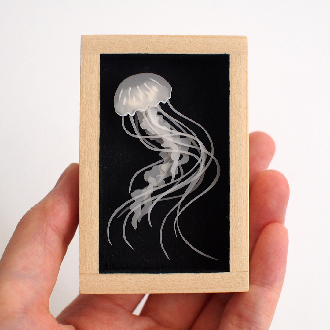 Jellyfish Shadow box illustration by Miki Sato