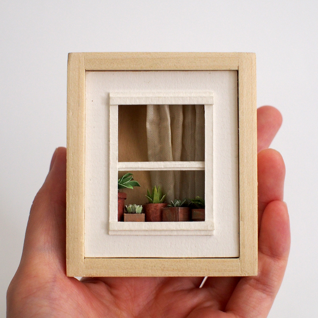 Plants in the Window Shadow box illustration by Miki Sato