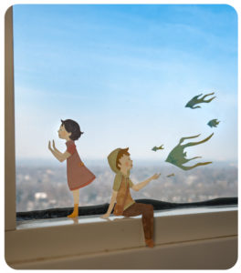 The View from Up Here Diorama illustration by Miki Sato