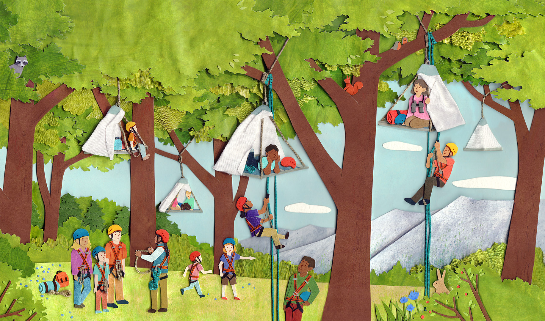 Chirp - Take a Trip - Tree Camping Illustration by Miki Sato