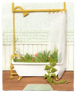 A Green Bath Illustration by Miki Sato