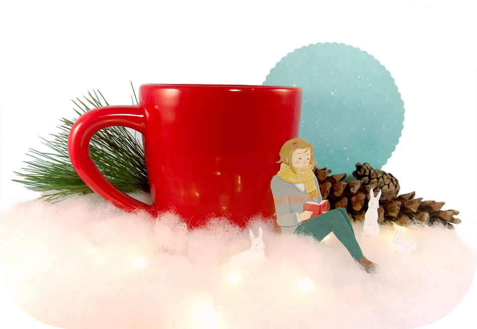 Keeping Warm Diorama illustration by Miki Sato